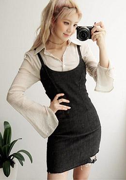成熟高雅微透視寬袖襯衫Standard Collar Wrinkled Slit Sleeve Blouse