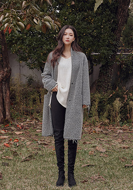 帥氣指標抽鬚邊造型長版大衣Worn Out Check Tweed Coat