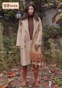 秋冬暖日雙排釦長版大衣Wide Collar Button Coat